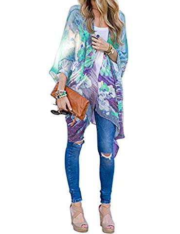 Billti Women's Asymmetric Hem Short Raglan Sleeve Floral Print Split Cover Up - Short Raglan Sleeve