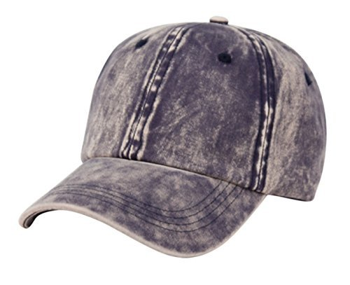 Closure Buckle Cotton Cap (Unisex 100% Cotton Plain Baseball Hat - Washed Cap With Buckle Closure on Back (Navy))