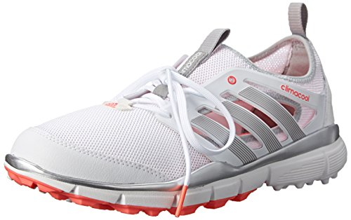 adidas Women's W Climacool II Golf Shoe, White/Silver Metallic/Flash Red, 10 M US