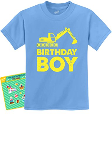 Birthday Boy Gift Idea - Yellow Tractor Bulldozer Construction Party Kids T-Shirt Small California -