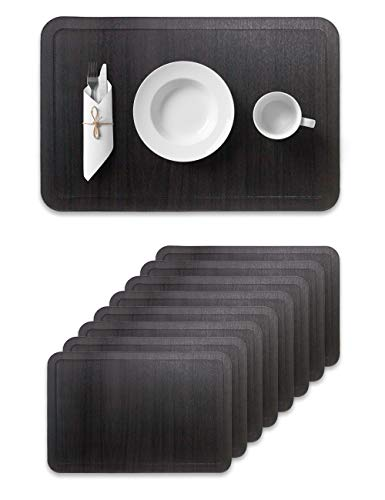 Alpiriral Dining Place Mats Set of 8 Heat Resistant Place Mats Easy to Wipe Off Scrub Vinyl Place Mats Washable Table Mats Protect The Table from Messes & with A Nice Looking in Black