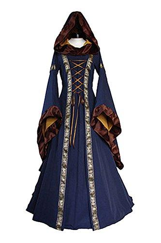 Womens Medieval Renaissance Dress Lace Up Vintage Floor Length Retro Gown Dress Blue (Medieval Gown Dress)