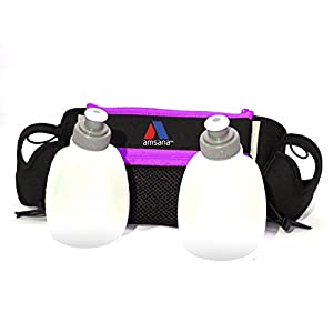 Amsana™ Runners Hydration Belt for Iphone 6 / 6 Plus & Android Smartphones - Two 6oz. Water Bottles - Runners Waist Pack Includes Toggles to Hold Your Race Number (Purple)