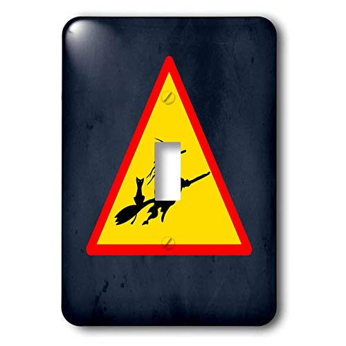 3dRose Sandy Mertens Halloween Designs - Witch Crossing with Black Cat and Broom Warning Sign, 3drsmm - Light Switch Covers - single toggle switch (lsp_290246_1) ()