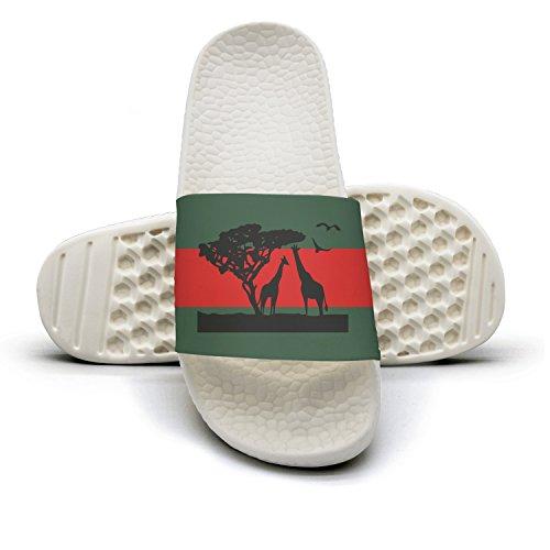 Africa Safari Animals Giraffe Man Red And Green Stripe Flat Slipper Sandals Summer Sandals Slides by Zhangyuyu