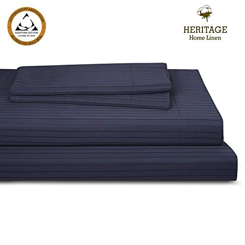 - Heritage Home Linen Bed Queen Sheet Set Egyptian Cotton Blend 800 Thread Count Pinstripes Sateen Weave Deep Pockets Upto 18