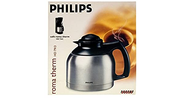 Philips HD 7913 acero inoxidable jarra térmica para cafetera HD7262 cromo/negro (L19): Amazon.es: Hogar