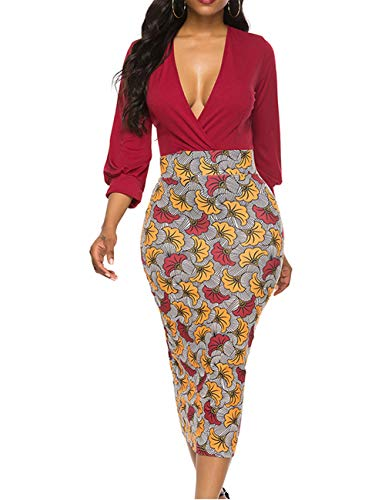 YCOOCE Womens Vintage Dress Long Sleeve Pencil Dress Fashion Slim Fit Print Bodycon Club Dress