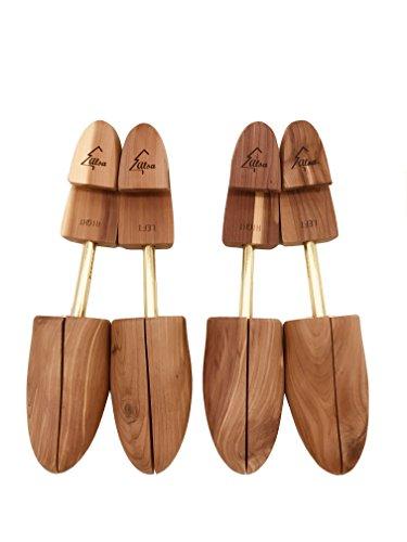 Alsa Mens Single Tube Cedar Shoe Tree with Wide Heel and Adjustable Split Toe (2 Pack) (Medium)