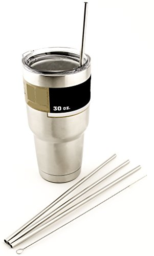 4 LONG Stainless Steel Straws fits 30 oz Yeti Tumbler Rambler Cups - CocoStraw Brand Drinking Straw