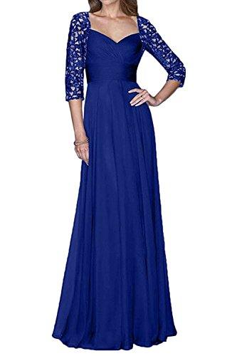 Linie Langarm Spitze Abendkleider Royal Charmant 4 Damen Blau Chiffon Promkleider Partykleider A 3 Glamour Lang Ia7X7x