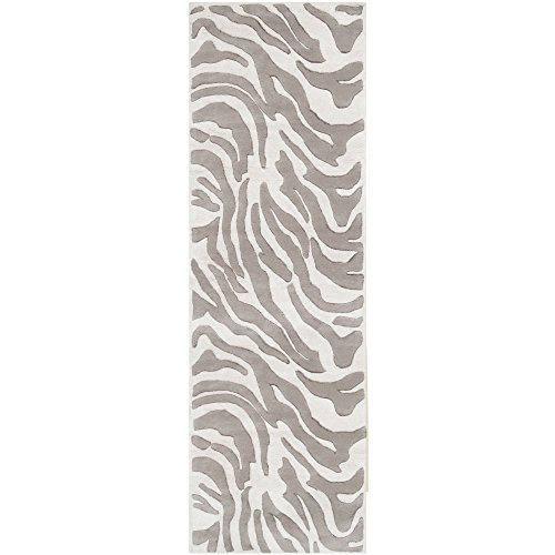 B. Smith by Surya Mosaic MOS-1001 Contemporary Hand Tufted 100% New Zealand Wool Ivory 2'6'' x 8' Animal Runner by Surya