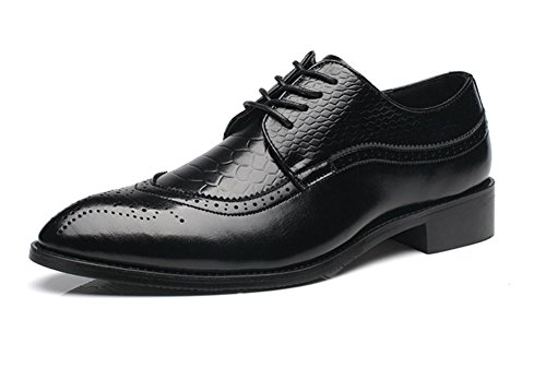 Männer Stier Leder Schuhe Geschäft Formal Freizeit Schnüren Gemütlich Herbst Frühling Schwarz Braun Spitz Rutschfest Größe 37-47 Black