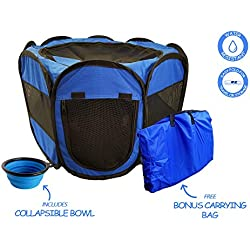 ToysOpoly Pet Playpen Indoor/Outdoor Cage. Best Exercise Kennel Your Dog, Cat, Rabbit, Puppy, Hamster. Portable Water Resistant Fabric Pen Easy Travel (Blue)