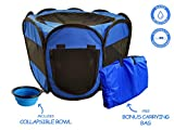 Cheap ToysOpoly Pet Playpen – Indoor/Outdoor Cage. Best Exercise Kennel Your Dog, Cat, Rabbit, Puppy, Hamster. Portable Water Resistant Fabric Pen Easy Travel (Medium, Blue)
