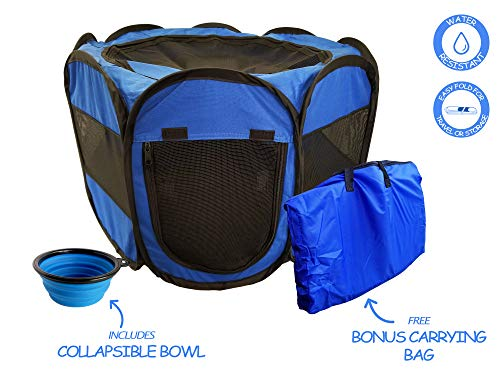 ToysOpoly Pet Playpen – Indoor/Outdoor Cage. Best Exercise Kennel Your Dog, Cat, Rabbit, Puppy, Hamster. Portable Water Resistant Fabric Pen Easy Travel (Medium, Blue)