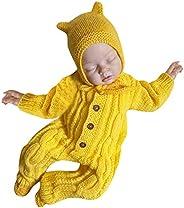 Baby Jumpsuit Vincent&September Sweater-Knit Crochet Romper Jumpsuit Hats Newborn Infant Baby Girls 3-18Mo