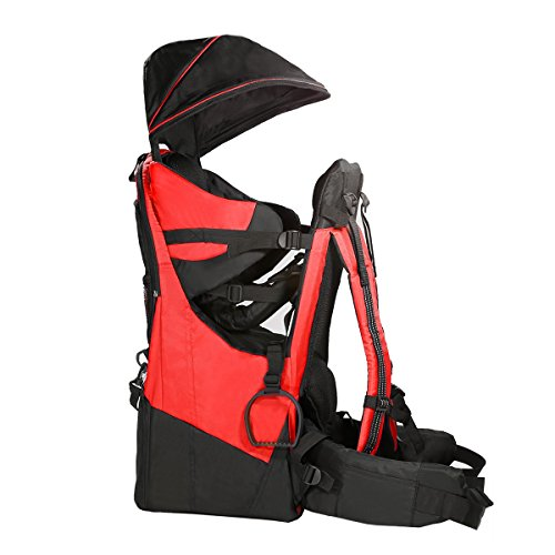 Clevr Cross Country Baby Backpack Hiking Carrier with Stand and Sun Shade Visor Child Kid toddler, Red, Upgraded Foot ()