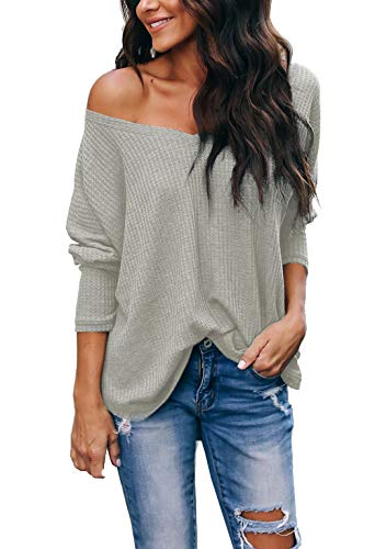 (iGENJUN Women's Casual V-Neck Cold Shoulder Batwing Sleeve Pullover Sweater Tops,Light Green,S)