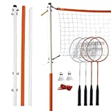 Franklin Sports Badminton Net Set - Includes 4 Rackets, 2 Birdies, Adjustable Net and Stakes - Backyard or Beach Badminton Set - Easy Net Setup