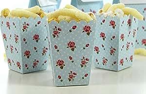 Amazon.com: ASMGroup Popcorn Boxes 24pcs Romantic Rose Popcorn Box Blue