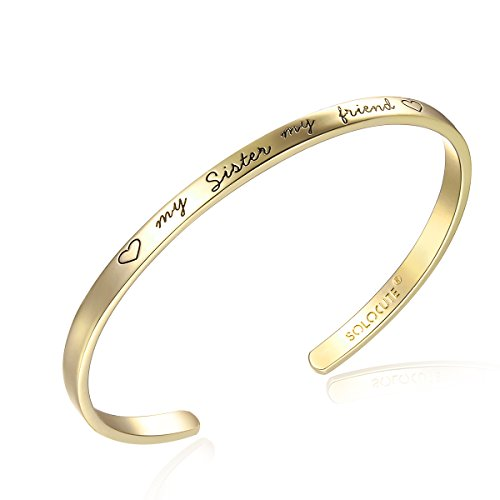 14k Engraved Bangle (SOLOCUTE Sterling Silver Cuff Bangle Bracelet Engraved