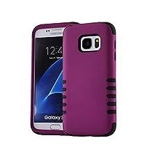 Galaxy S7 Edge Case, NOKEA [Drop Protection] [Shock Reduction] [Anti-Skidding] [Dual Layer] Premium Durable Hybrid Protective Bumper Case Cover for Samsung Galaxy S7 Edge (Purple+Black)
