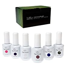 BMC 6pc Color Gel Nail Art Polish UV LED Light Manicure Collection Set-BASICS, Stuck On You Like Gelly Collection
