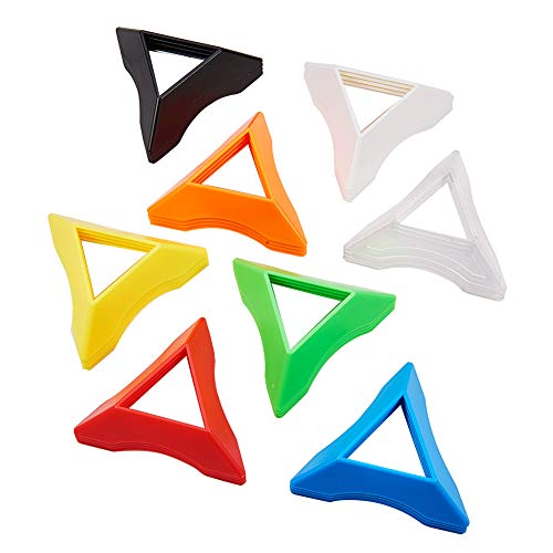 (PH PandaHall 32pcs 8 Colors Plastic Triangle Speed Magic Cubes Base Holder Frame Accessories Puzzle Cube)