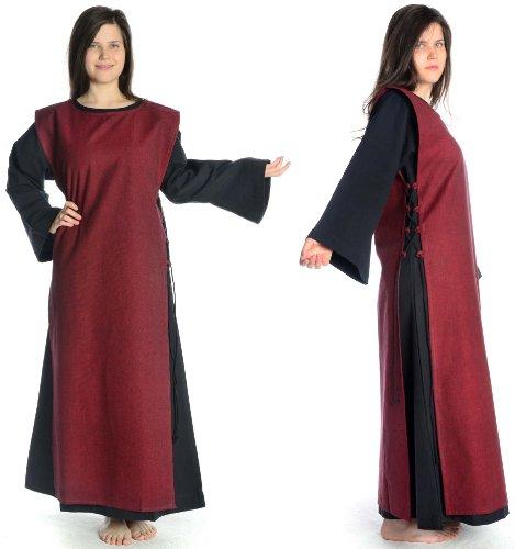 Damen mit S Kleid schwarz Baumwolle XL HEMAD schwarz Leinenstruktur mit Skapulier Damenkleid dunkelrot Mittelalter FIxYSd