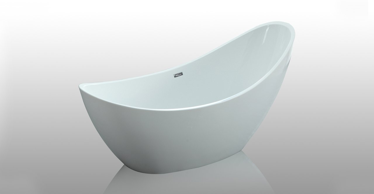 HelixBath Odysseus White Freestanding Swooping Slipper Bathtub with ...