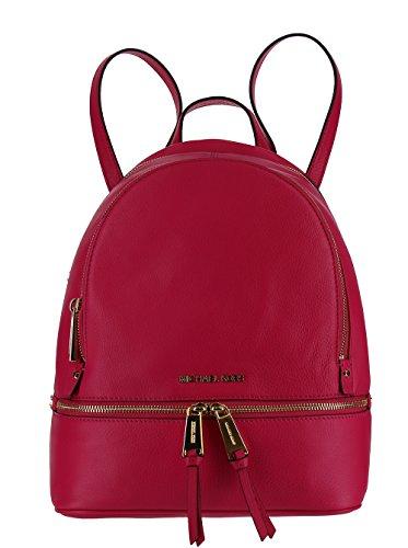 MICHAEL Michael Kors Rhea Zip Medium Leather Backpack - Ultra Pink