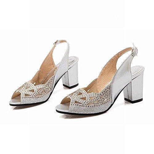YE Damen Chunky Heels Peep Toe Riemchen Sandalen mit Glitzer Strass Slingback Pumps Hochzeit Braut Abend Schuhe Silber