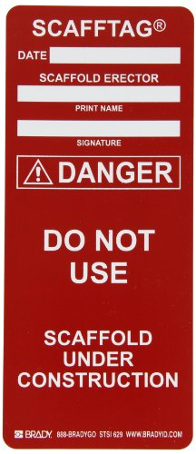 Brady  SCAF-STSI 629, Red SCAFFTAG INSERTS DANGER 100/Package RED (100 Tags)