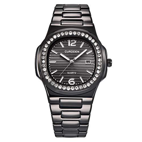 - nightfall Watch,Mens Watch,Luxury Classic Quartz Large Stainless Steel Watch with Link Bracelet,Dress Waterproof Watch for Men