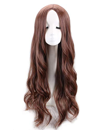 Women's Fashion Long Curly Dark Brown Middle Part Water Wave Synthetic Hair Wigs Cosplay Halloween Wig (Avengers Age Of Ultron Scarlet Witch Costume)