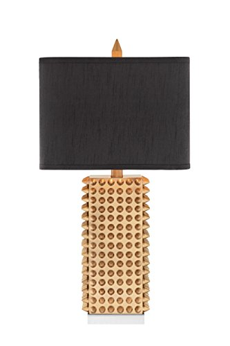 Catalina 19104-000 3-Way 28.75-Inch Square Gold Spiked Table Lamp with Rectangular Faux Silk Shade ()