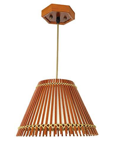 (Liveinu Asian Bell Shape Handmade Bamboo Lamp Oriental Handcraft Ceiling Pendant Lamp Brown)