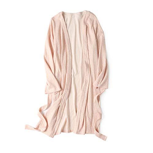 Cotton Robe Soft Kimono Spa Knit Bathrobe Lightweight Long,Solid Cotton Robe Lightweight Woven Bathrobe for men and woman