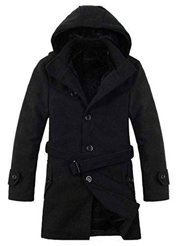 wanture Mens Faux Fur Lined Belted Hooded Cotton Blend Pea Coat Black 2XL