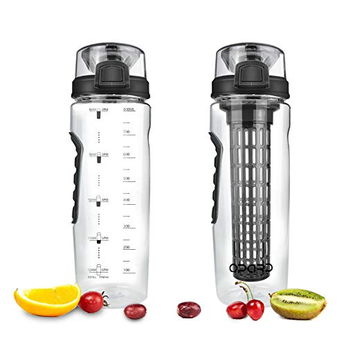 Opard Fruit Infuser Water Bottle with Time Marker, 30 oz BPA Free Infuser Water Bottles with Folded Carry Handle, Leak-Proof Flip Top Lid, Full Length Infusion Rod, Dual Anti-Slip Grips (Black)