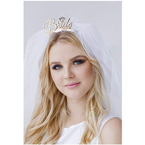 Aukmla Bride To Be Headband Bride with Veil Headband Bachelorette Party Headband Bridal Shower Headband Wedding Gift for Women and Girls (Gold)