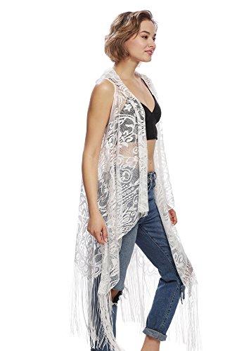 Shabon Fashion Women's Lace Long Vest With Fringe (Ivory)