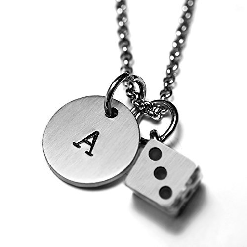 (Antique Silver Plated Pewter Dice Necklace, personalized with hand stamped stainless steel initial charm. Dice. Gambling. Las Vegas. Craps.)
