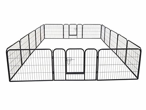 16 Panel Large Metal Pet Dog Cat Exercise Barrier Fence Cage Playpen Kennel Yard by Eight24hours (Fence Cage For)