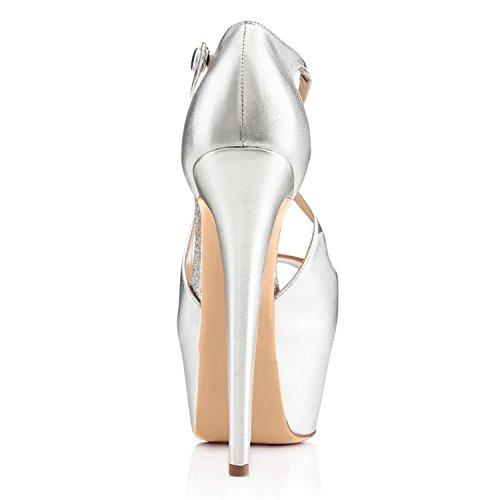 elashe Escarpins femme Plateforme - 15CM Escarpins Peep Toe - 5CM Plateforme Talon Chaussures Open Toe Argent eq6vtLb5xk