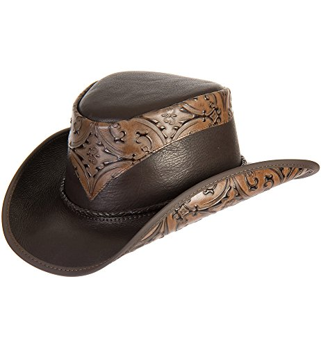 Overland Sheepskin Co Falcon Hand-Tooled Leather Cowboy Hat