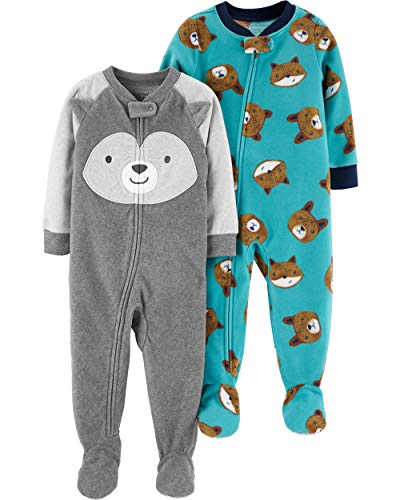 Carter's Baby Boys 2-Pack Loose Fit Fleece Footed Pajamas, Dog Face/Blue Bears, 18 Months