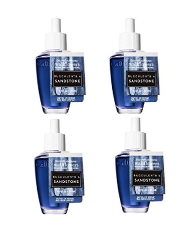 Bath and Body Works Succulents & Sandstone Wallflower Fragrance Refill. 4 Pack 0.8 Oz (2017) (Sandstone Wall)