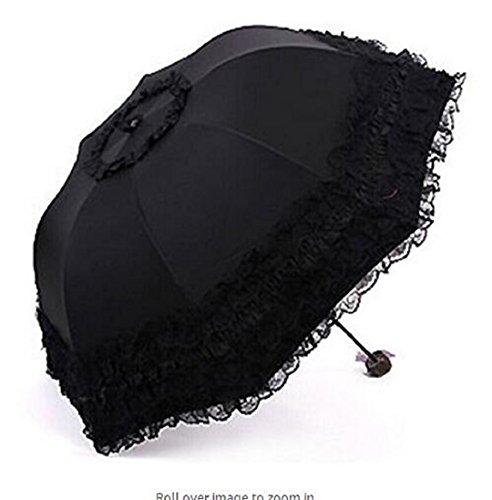 Wendin Travel Umbrella olding UV Resistance Princess Lace Parasol Umbrella Sun Umbrella For Women Girls by Wendin (Image #4)